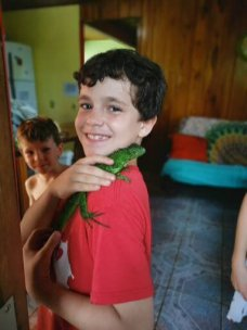 Our neighbor brought over this Iguana that he found in his kitchen